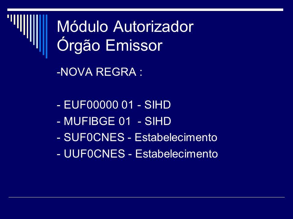 Módulo Autorizador Órgão Emissor -NOVA REGRA : - EUF00000 01 - SIHD - MUFIBGE 01 - SIHD - SUF0CNES - Estabelecimento - UUF0CNES - Estabelecimento