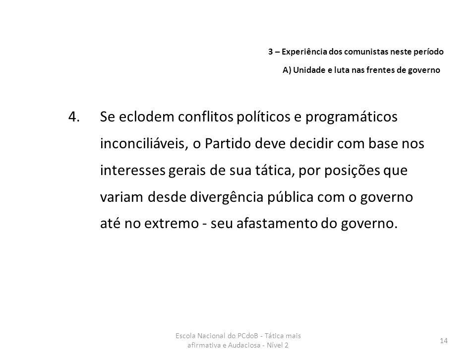 Escola Nacional do PCdoB - Tática mais afirmativa e Audaciosa - Nível 2 14 4.Se eclodem conflitos políticos e programáticos inconciliáveis, o Partido