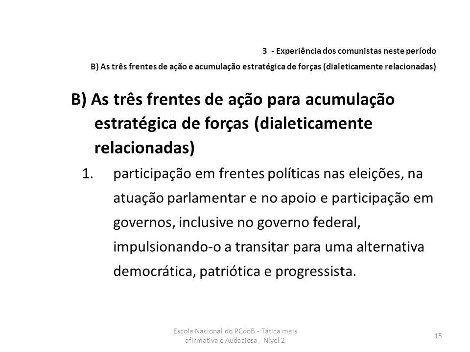 Escola Nacional do PCdoB - Tática mais afirmativa e Audaciosa - Nível 2 15 1.participação em frentes políticas nas eleições, na atuação parlamentar e