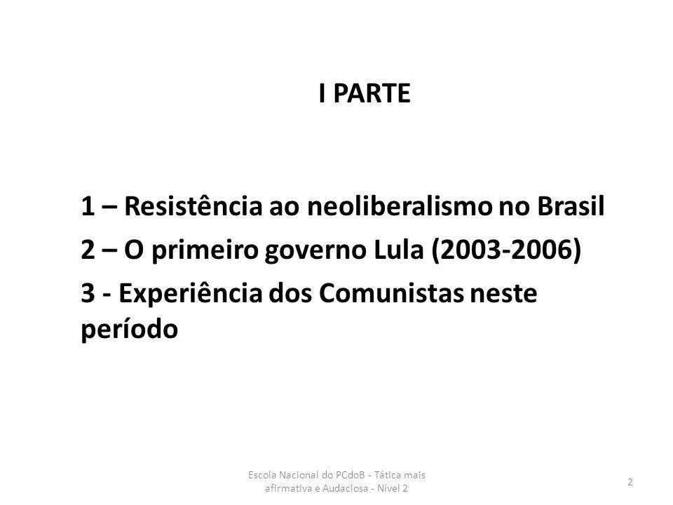 Escola Nacional do PCdoB - Tática mais afirmativa e Audaciosa - Nível 2 3 1 – Resistência ao neoliberalismo no Brasil A luta de resistência e superação do neoliberalismo está entrelaçada e abre caminhos para o alcance do objetivo estratégico – transição do capitalismo para o socialismo (resolução 9ª Conferência, 2003).