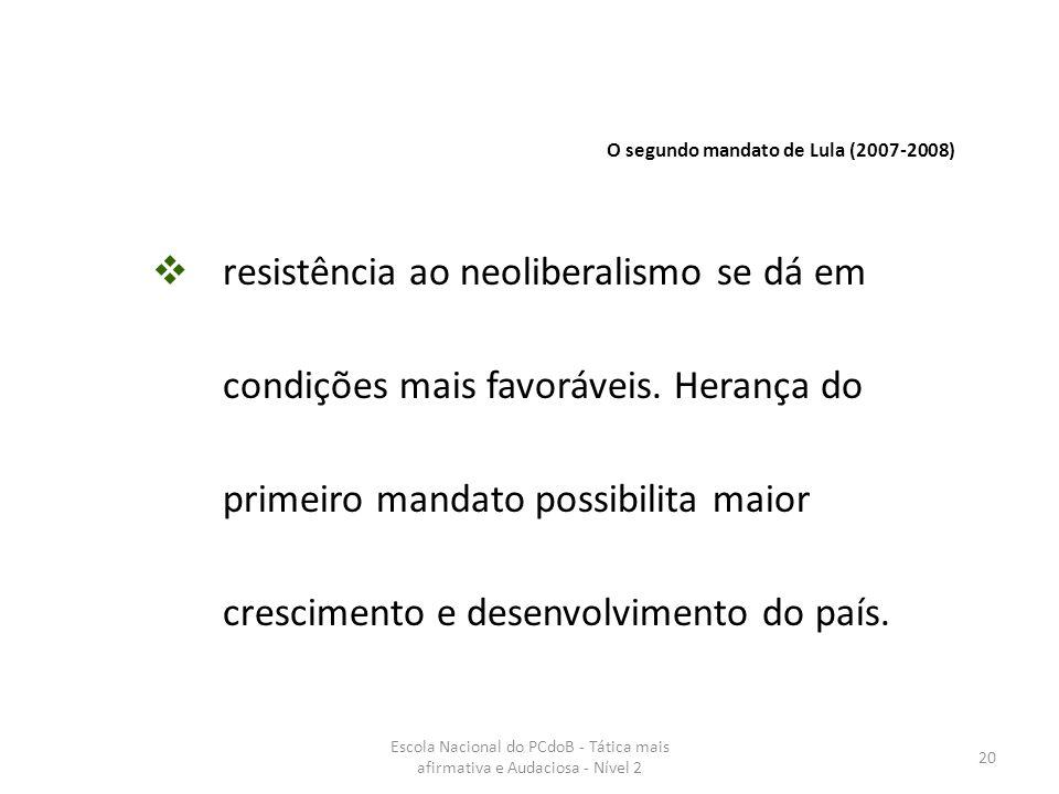 Escola Nacional do PCdoB - Tática mais afirmativa e Audaciosa - Nível 2 20  resistência ao neoliberalismo se dá em condições mais favoráveis. Herança