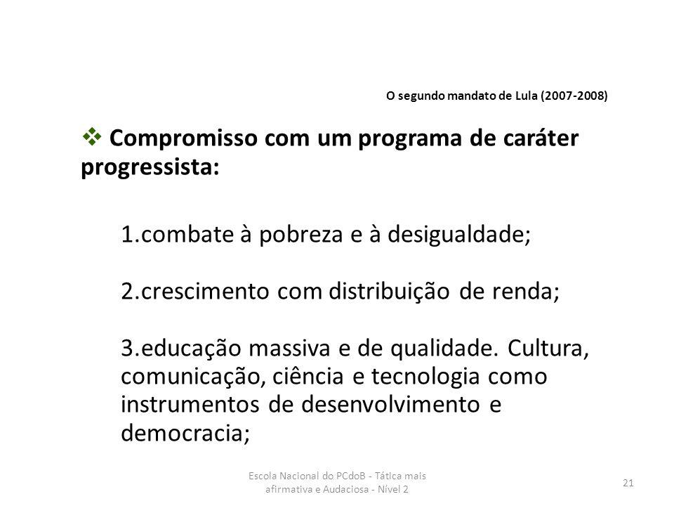 Escola Nacional do PCdoB - Tática mais afirmativa e Audaciosa - Nível 2 21  Compromisso com um programa de caráter progressista: 1.combate à pobreza