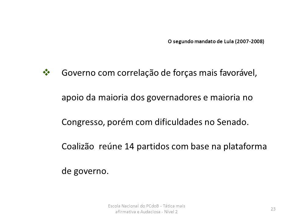 Escola Nacional do PCdoB - Tática mais afirmativa e Audaciosa - Nível 2 23  Governo com correlação de forças mais favorável, apoio da maioria dos gov