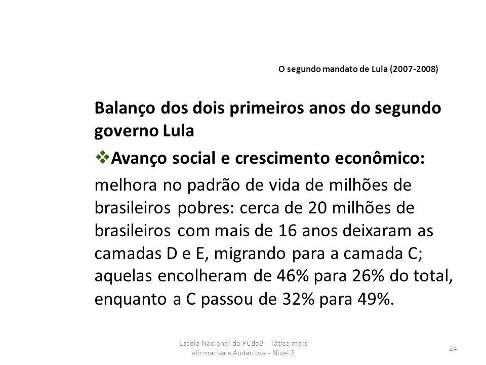 Escola Nacional do PCdoB - Tática mais afirmativa e Audaciosa - Nível 2 24 Balanço dos dois primeiros anos do segundo governo Lula  Avanço social e c