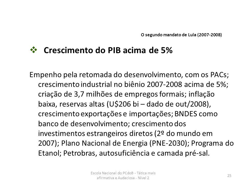 Escola Nacional do PCdoB - Tática mais afirmativa e Audaciosa - Nível 2 25  Crescimento do PIB acima de 5% Empenho pela retomada do desenvolvimento,