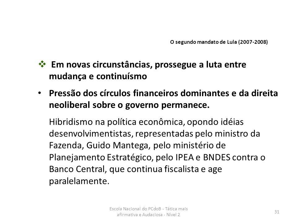 Escola Nacional do PCdoB - Tática mais afirmativa e Audaciosa - Nível 2 31  Em novas circunstâncias, prossegue a luta entre mudança e continuísmo Pre