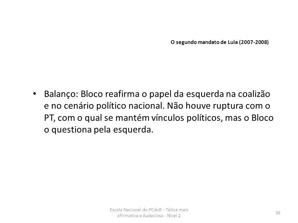 Escola Nacional do PCdoB - Tática mais afirmativa e Audaciosa - Nível 2 36 Balanço: Bloco reafirma o papel da esquerda na coalizão e no cenário políti