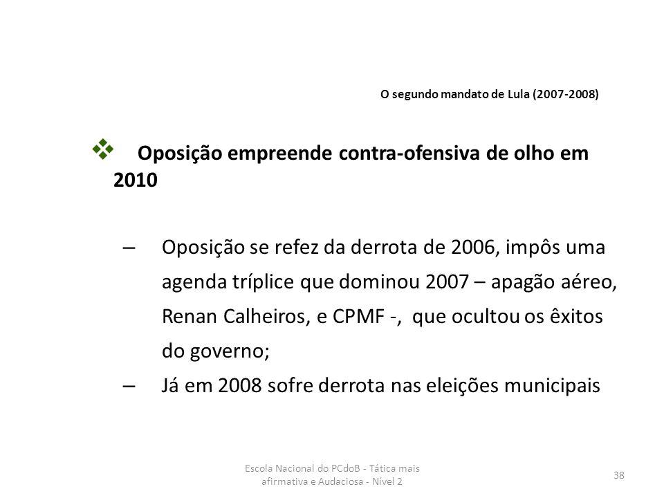 Escola Nacional do PCdoB - Tática mais afirmativa e Audaciosa - Nível 2 38  Oposição empreende contra-ofensiva de olho em 2010 – Oposição se refez da
