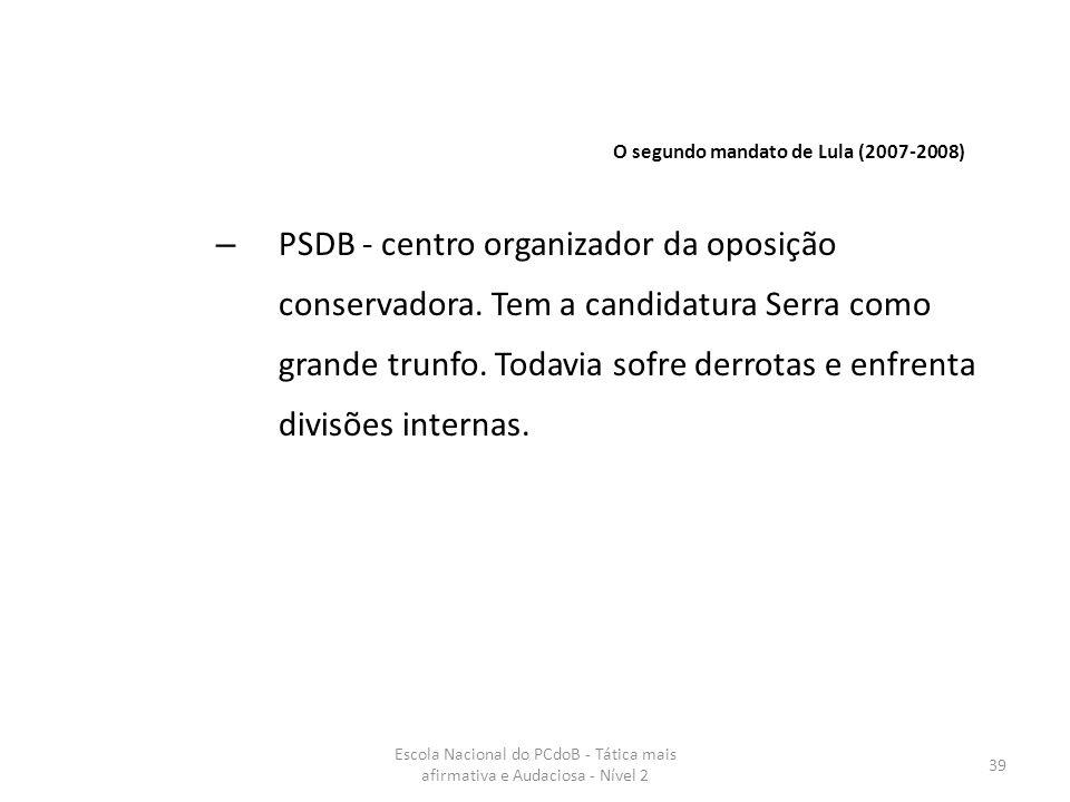 Escola Nacional do PCdoB - Tática mais afirmativa e Audaciosa - Nível 2 39 – PSDB - centro organizador da oposição conservadora. Tem a candidatura Ser