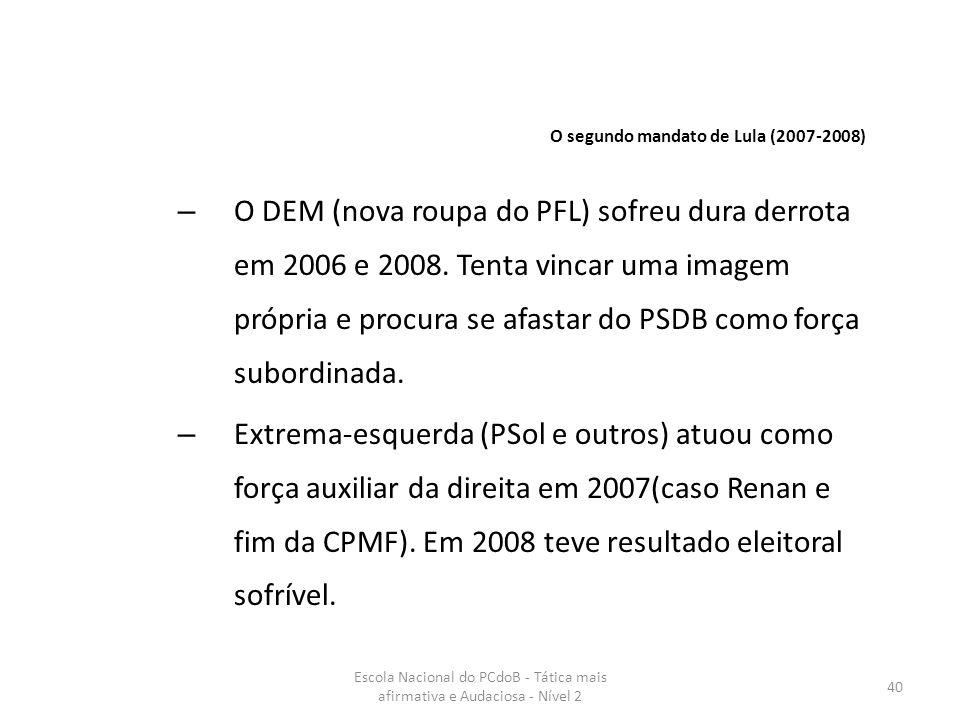 Escola Nacional do PCdoB - Tática mais afirmativa e Audaciosa - Nível 2 40 – O DEM (nova roupa do PFL) sofreu dura derrota em 2006 e 2008. Tenta vinca