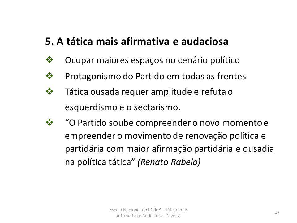 Escola Nacional do PCdoB - Tática mais afirmativa e Audaciosa - Nível 2 42 5. A tática mais afirmativa e audaciosa  Ocupar maiores espaços no cenário
