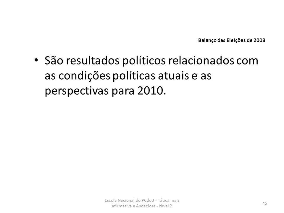 Escola Nacional do PCdoB - Tática mais afirmativa e Audaciosa - Nível 2 45 São resultados políticos relacionados com as condições políticas atuais e a