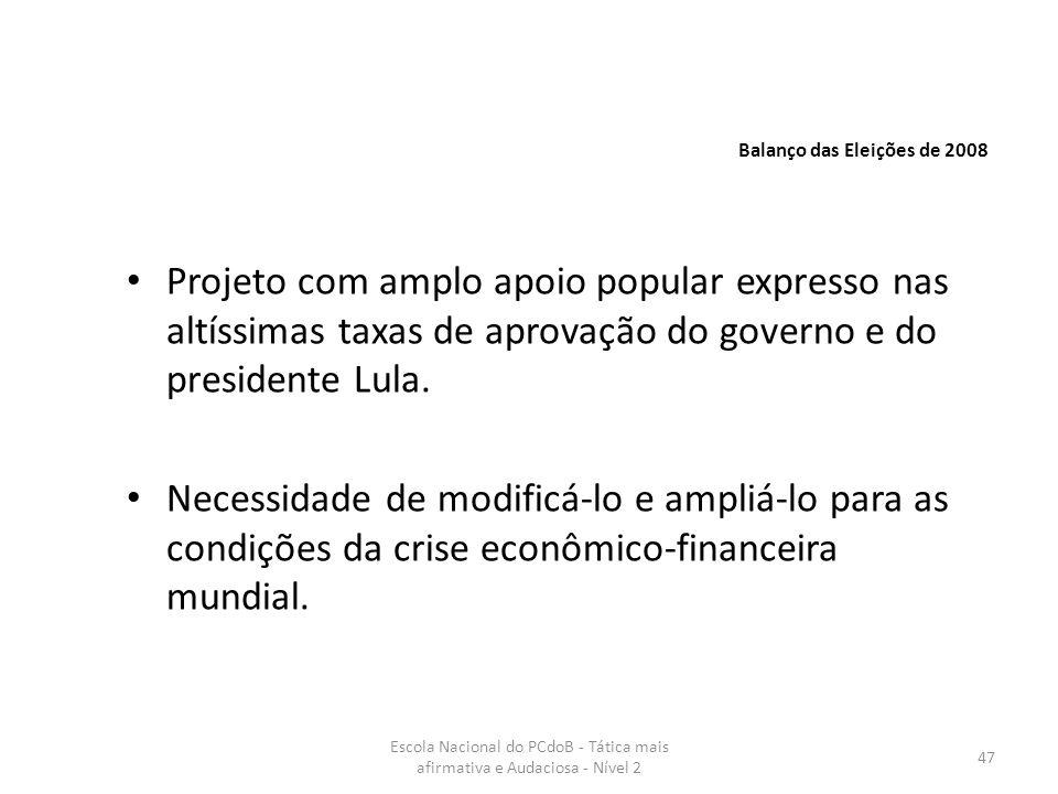 Escola Nacional do PCdoB - Tática mais afirmativa e Audaciosa - Nível 2 47 Projeto com amplo apoio popular expresso nas altíssimas taxas de aprovação