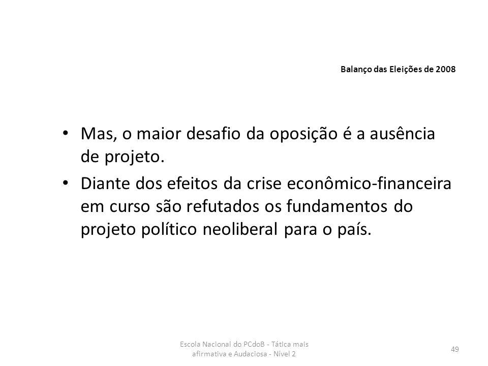 Escola Nacional do PCdoB - Tática mais afirmativa e Audaciosa - Nível 2 49 Mas, o maior desafio da oposição é a ausência de projeto. Diante dos efeito