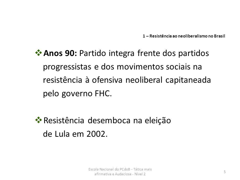 Escola Nacional do PCdoB - Tática mais afirmativa e Audaciosa - Nível 2 6  vitória de novas forças políticas e sociais avançadas;  resistência ao neoliberalismo se dá em melhores condições;  novo ciclo político no país;  exigência de nova formulação tática; Eleição de Lula 2002 1 – Resistência ao neoliberalismo no Brasil