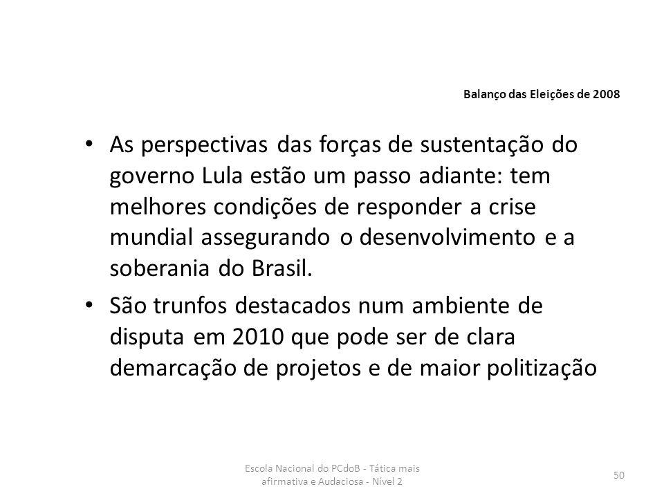 Escola Nacional do PCdoB - Tática mais afirmativa e Audaciosa - Nível 2 50 As perspectivas das forças de sustentação do governo Lula estão um passo ad