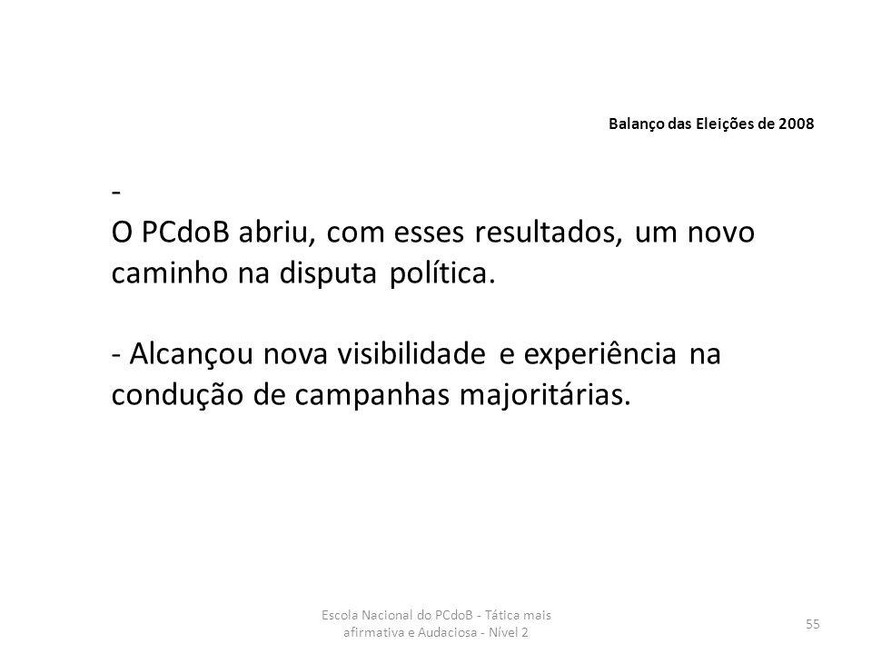 Escola Nacional do PCdoB - Tática mais afirmativa e Audaciosa - Nível 2 55 Balanço das Eleições de 2008 - O PCdoB abriu, com esses resultados, um novo
