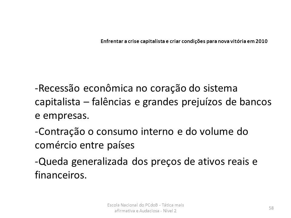 Escola Nacional do PCdoB - Tática mais afirmativa e Audaciosa - Nível 2 58 -Recessão econômica no coração do sistema capitalista – falências e grandes