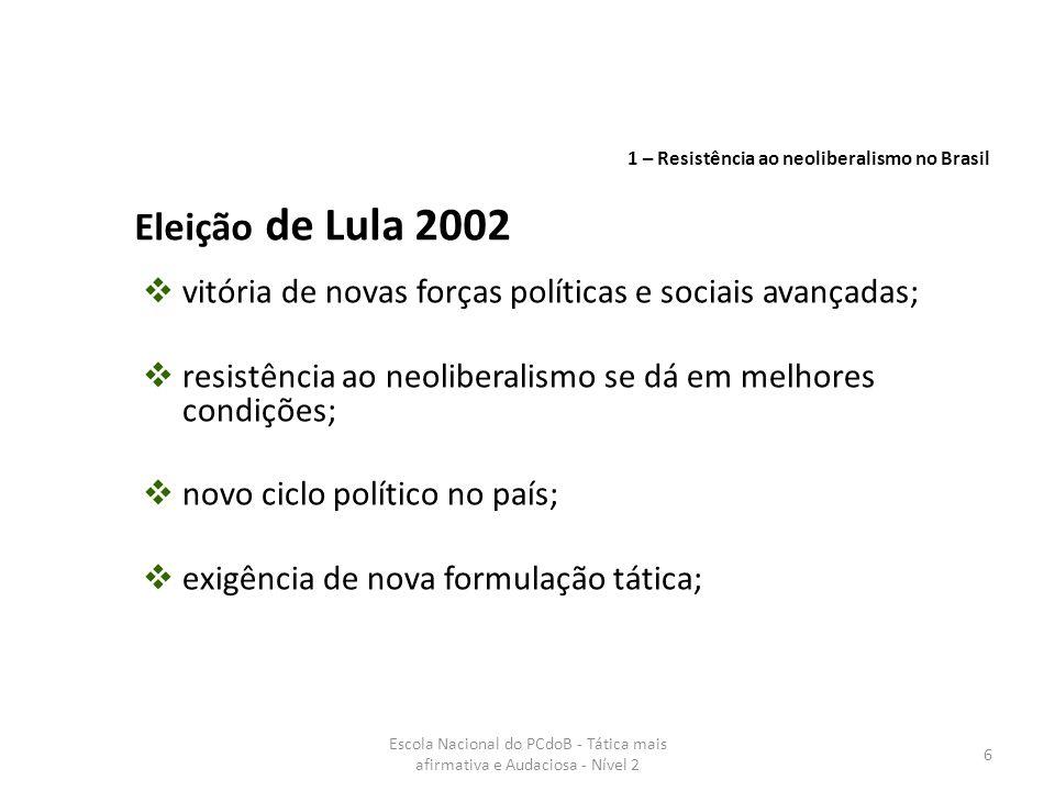 Escola Nacional do PCdoB - Tática mais afirmativa e Audaciosa - Nível 2 37 Importante a incorporação do PMDB quase por inteiro na base do governo, mas, na prática, ele atuou ainda dividido.