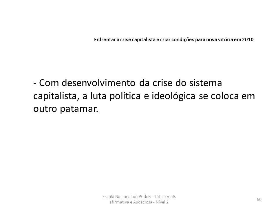 Escola Nacional do PCdoB - Tática mais afirmativa e Audaciosa - Nível 2 60 - Com desenvolvimento da crise do sistema capitalista, a luta política e id