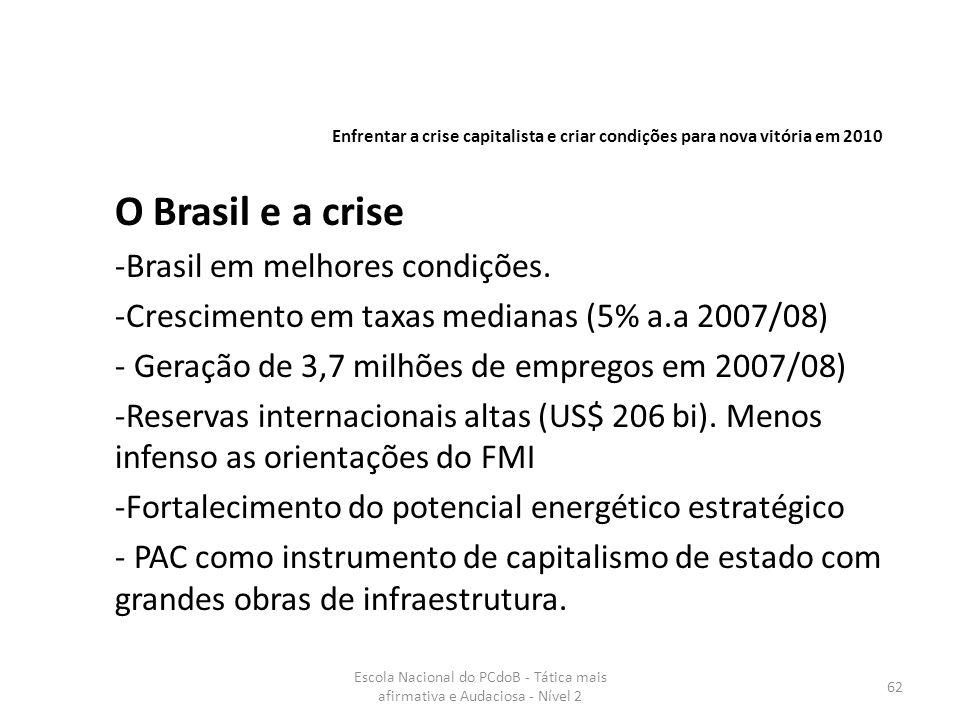 Escola Nacional do PCdoB - Tática mais afirmativa e Audaciosa - Nível 2 62 O Brasil e a crise -Brasil em melhores condições. -Crescimento em taxas med