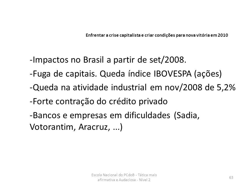 Escola Nacional do PCdoB - Tática mais afirmativa e Audaciosa - Nível 2 63 -Impactos no Brasil a partir de set/2008. -Fuga de capitais. Queda índice I