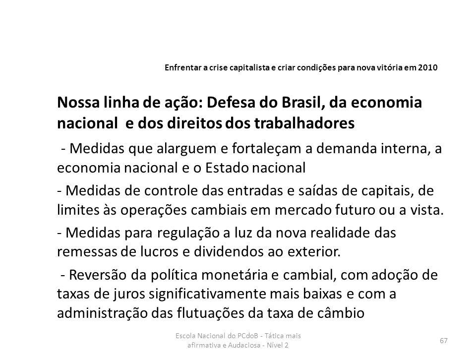 Escola Nacional do PCdoB - Tática mais afirmativa e Audaciosa - Nível 2 67 Nossa linha de ação: Defesa do Brasil, da economia nacional e dos direitos