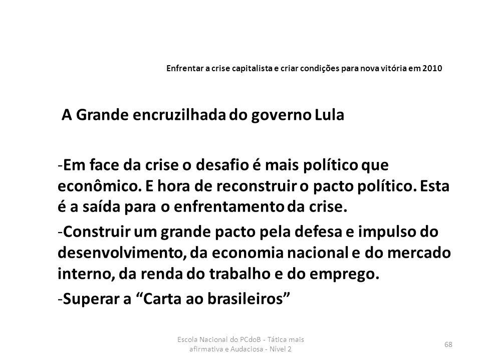 Escola Nacional do PCdoB - Tática mais afirmativa e Audaciosa - Nível 2 68 A Grande encruzilhada do governo Lula -Em face da crise o desafio é mais po