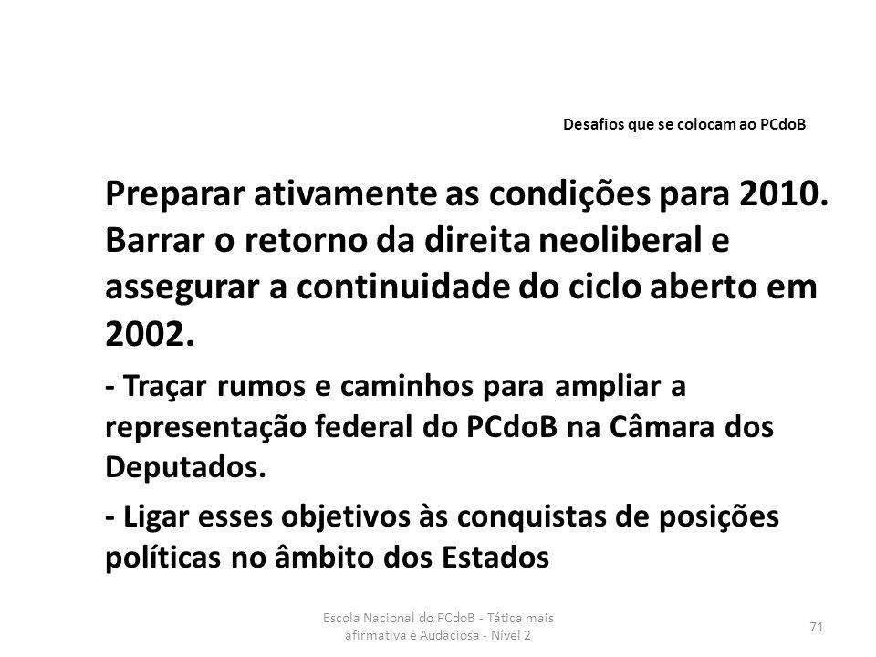 Escola Nacional do PCdoB - Tática mais afirmativa e Audaciosa - Nível 2 71 Preparar ativamente as condições para 2010. Barrar o retorno da direita neo