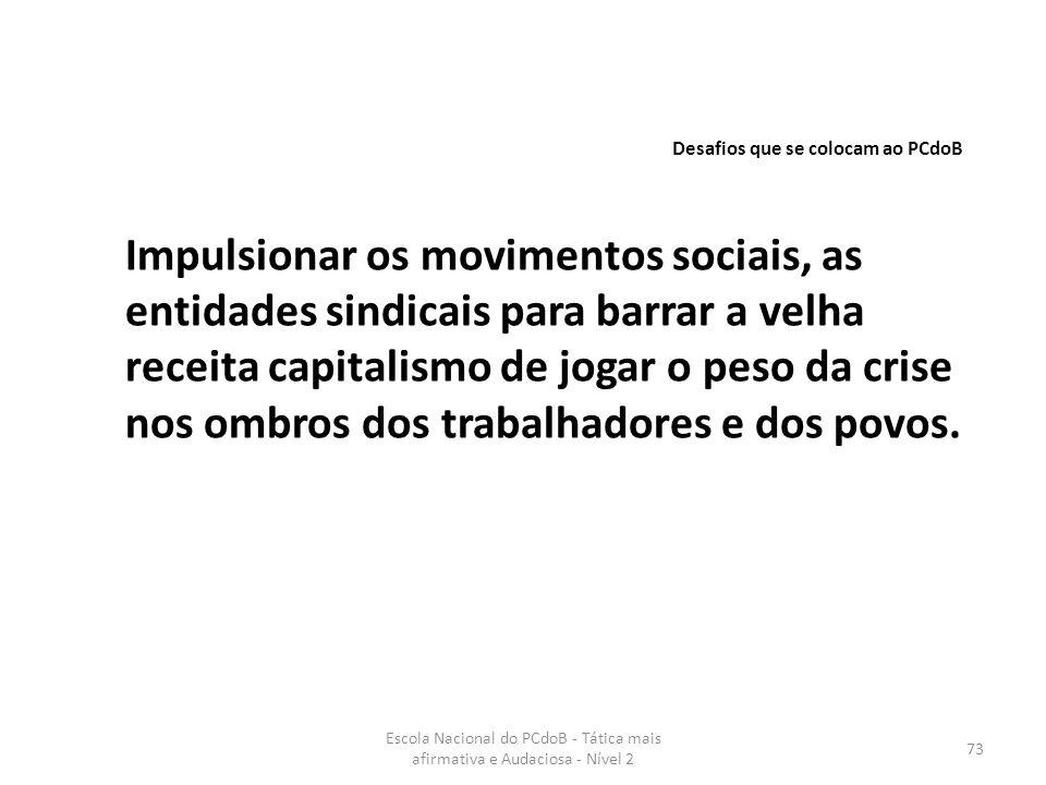 Escola Nacional do PCdoB - Tática mais afirmativa e Audaciosa - Nível 2 73 Impulsionar os movimentos sociais, as entidades sindicais para barrar a vel