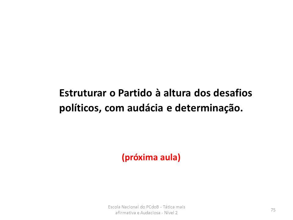 Escola Nacional do PCdoB - Tática mais afirmativa e Audaciosa - Nível 2 75 Estruturar o Partido à altura dos desafios políticos, com audácia e determi