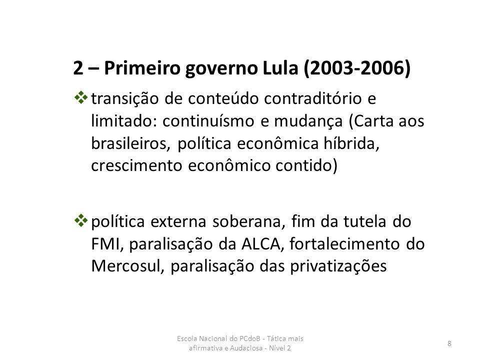 Escola Nacional do PCdoB - Tática mais afirmativa e Audaciosa - Nível 2 9  programas sociais para o combate à pobreza  governo democrático  crises políticas e ataque cerrado da oposição conservadora de direita 2 – Primeiro governo Lula (2003-2006)