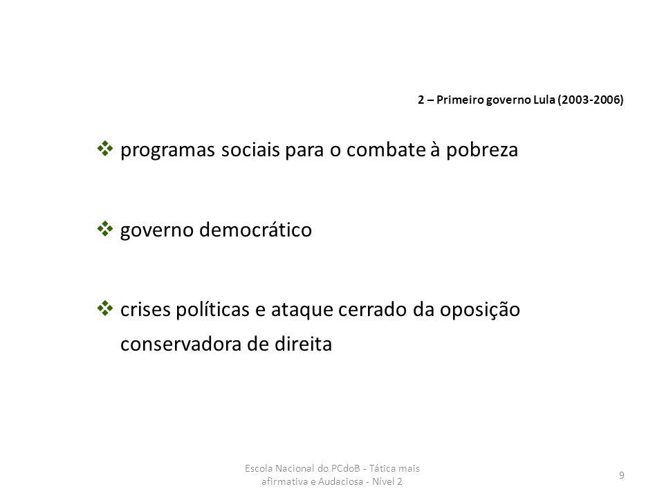 Escola Nacional do PCdoB - Tática mais afirmativa e Audaciosa - Nível 2 50 As perspectivas das forças de sustentação do governo Lula estão um passo adiante: tem melhores condições de responder a crise mundial assegurando o desenvolvimento e a soberania do Brasil.