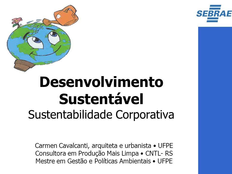 Carmen Cavalcanti, arquiteta e urbanista UFPE Consultora em Produção Mais Limpa CNTL- RS Mestre em Gestão e Políticas Ambientais UFPE Desenvolvimento