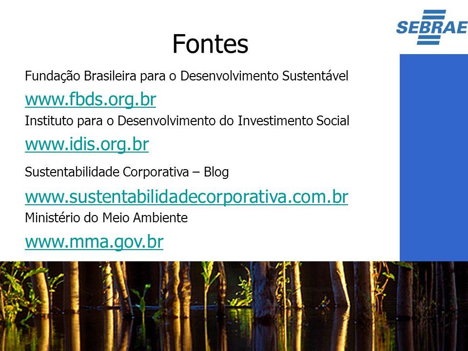 Fontes Fundação Brasileira para o Desenvolvimento Sustentável www.fbds.org.br Instituto para o Desenvolvimento do Investimento Social www.idis.org.br