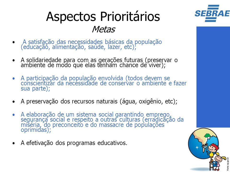 Aspectos Prioritários Metas A satisfação das necessidades básicas da população (educação, alimentação, saúde, lazer, etc); A solidariedade para com as