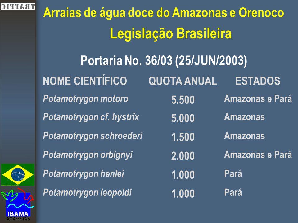 Arraias de água doce do Amazonas e Orenoco Legislação Brasileira Portaria No.