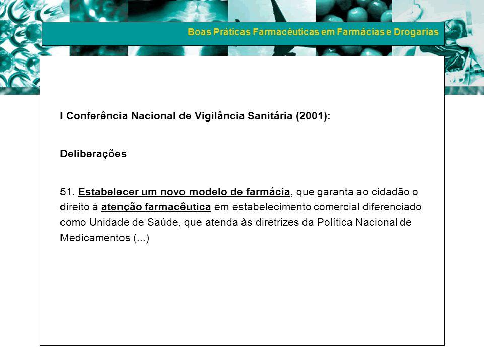 Boas Práticas Farmacêuticas em Farmácias e Drogarias I Conferência Nacional de Medicamentos e Assistência Farmacêutica (2003): Exigir oficialmente do poder público e privado a efetivação dos programas de Atenção Farmacêutica em todos os níveis de assistência farmacêutica no Brasil.