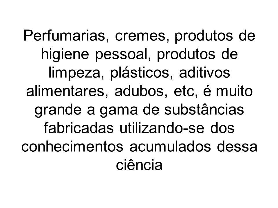 Perfumarias, cremes, produtos de higiene pessoal, produtos de limpeza, plásticos, aditivos alimentares, adubos, etc, é muito grande a gama de substânc