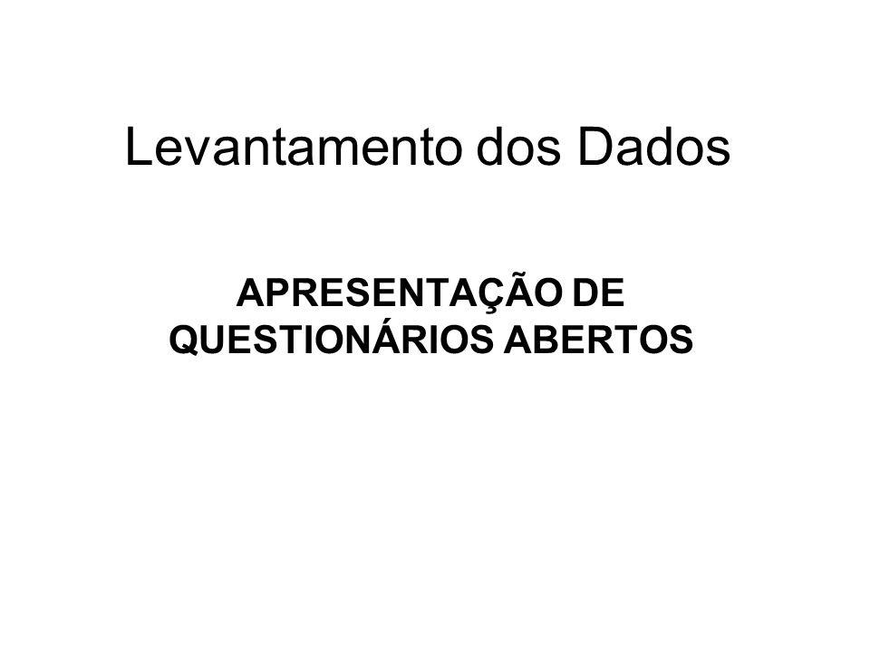 Levantamento dos Dados APRESENTAÇÃO DE QUESTIONÁRIOS ABERTOS