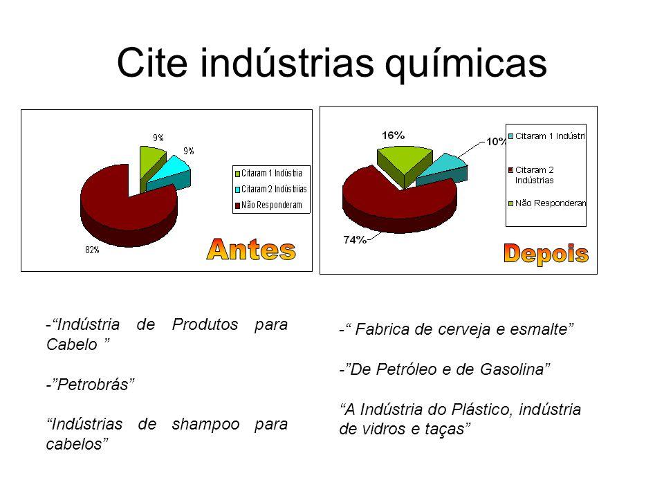 """Cite indústrias químicas -""""Indústria de Produtos para Cabelo """" -""""Petrobrás"""" """"Indústrias de shampoo para cabelos"""" -"""" Fabrica de cerveja e esmalte"""" -""""De"""
