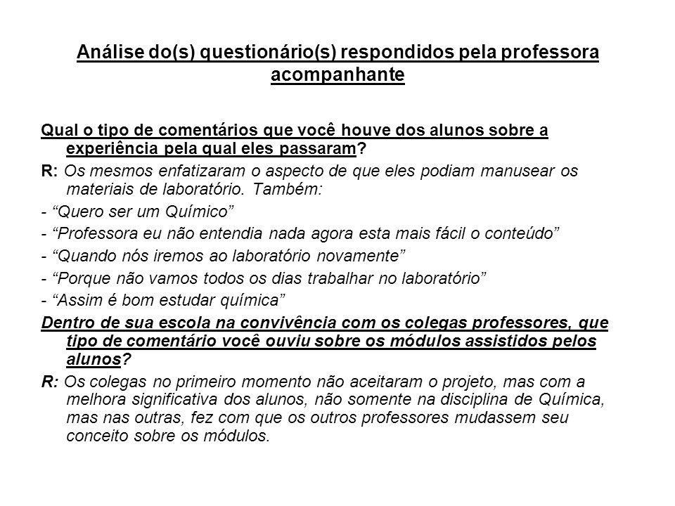 Análise do(s) questionário(s) respondidos pela professora acompanhante Qual o tipo de comentários que você houve dos alunos sobre a experiência pela q