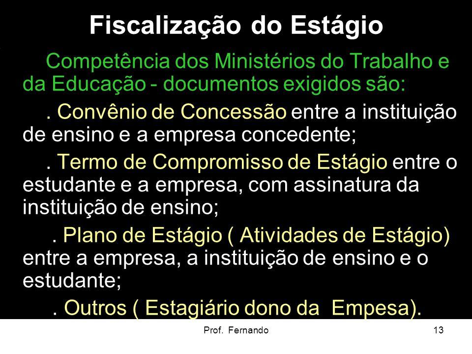 Prof. Fernando13 Fiscalização do Estágio Competência dos Ministérios do Trabalho e da Educação - documentos exigidos são:. Convênio de Concessão entre