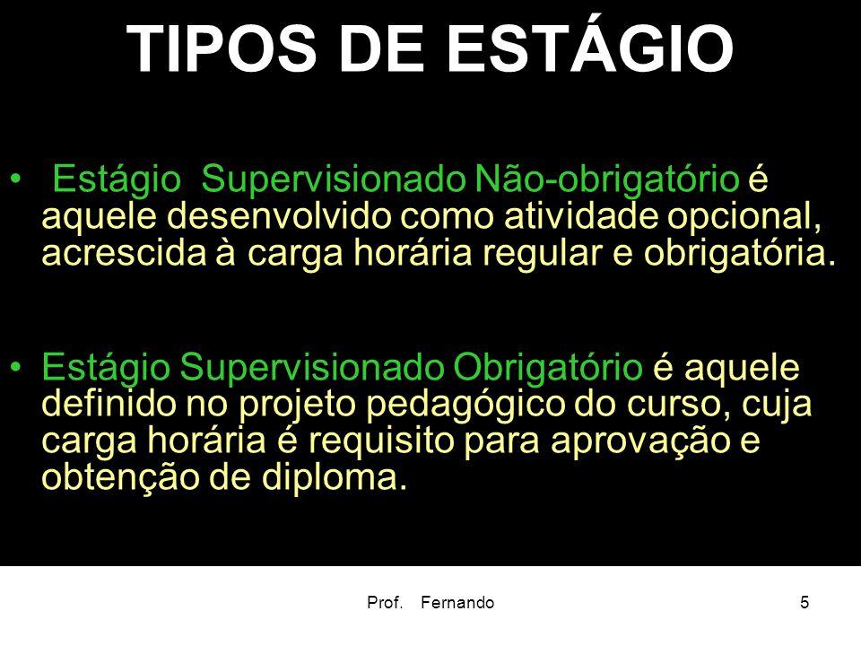 Prof. Fernando5 TIPOS DE ESTÁGIO Estágio Supervisionado Não-obrigatório é aquele desenvolvido como atividade opcional, acrescida à carga horária regul
