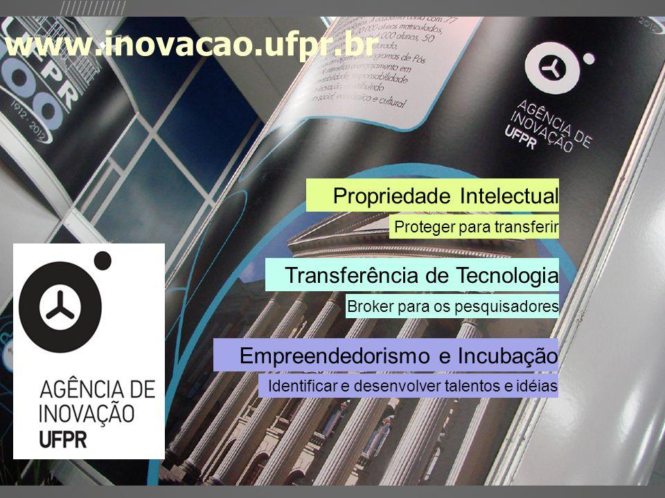 //////////// Broker para os pesquisadores Proteger para transferir Propriedade Intelectual Transferência de Tecnologia Empreendedorismo e Incubação Identificar e desenvolver talentos e idéias www.inovacao.ufpr.br