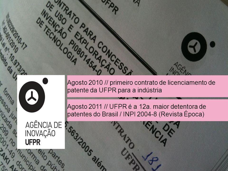//////////// Agosto 2010 // primeiro contrato de licenciamento de patente da UFPR para a indústria Agosto 2011 // UFPR é a 12a.