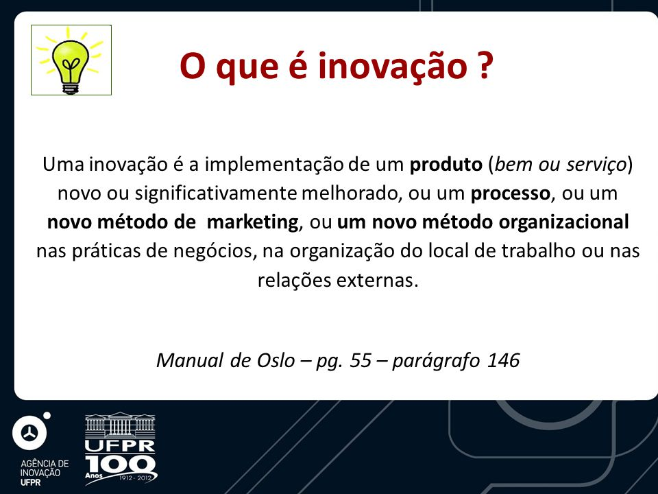 Uma inovação é a implementação de um produto (bem ou serviço) novo ou significativamente melhorado, ou um processo, ou um novo método de marketing, ou um novo método organizacional nas práticas de negócios, na organização do local de trabalho ou nas relações externas.