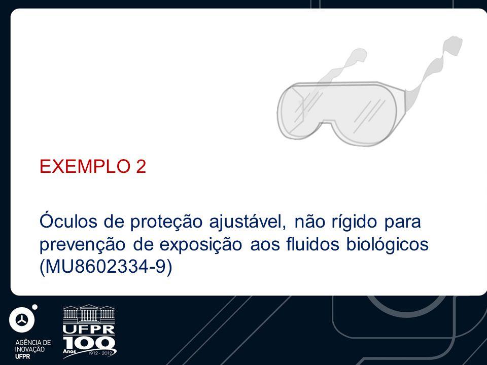 EXEMPLO 2 Óculos de proteção ajustável, não rígido para prevenção de exposição aos fluidos biológicos (MU8602334-9)