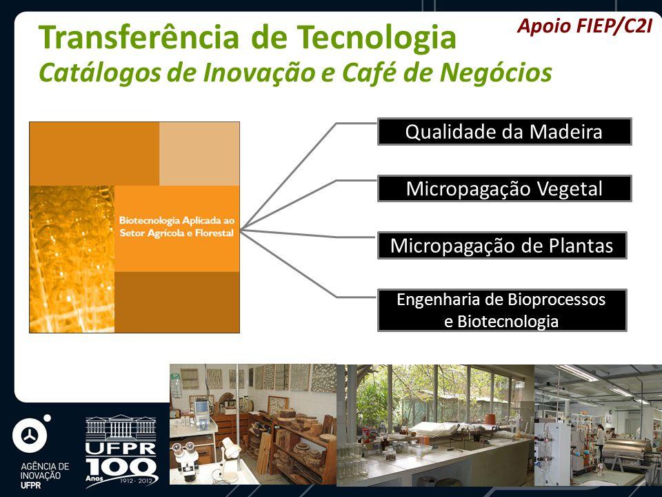 Transferência de Tecnologia Catálogos de Inovação e Café de Negócios Qualidade da Madeira Micropagação Vegetal Micropagação de Plantas Engenharia de Bioprocessos e Biotecnologia Apoio FIEP/C2I