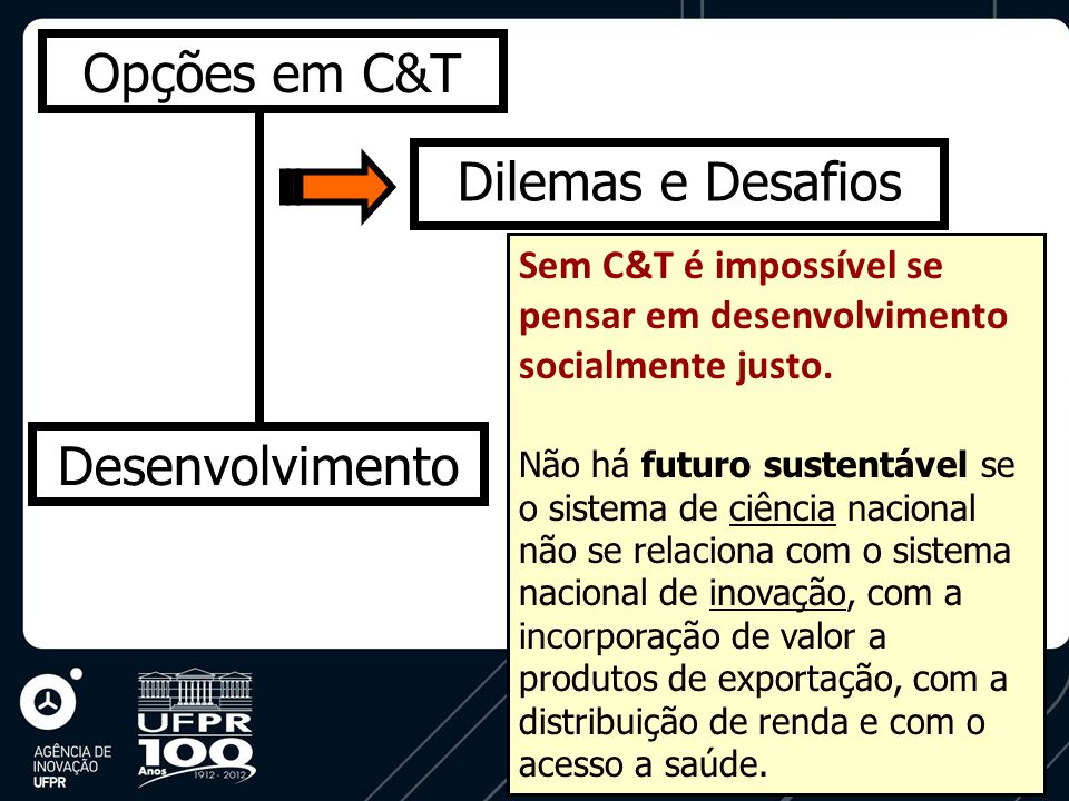 Opções em C&T Desenvolvimento Dilemas e Desafios Sem C&T é impossível se pensar em desenvolvimento socialmente justo.